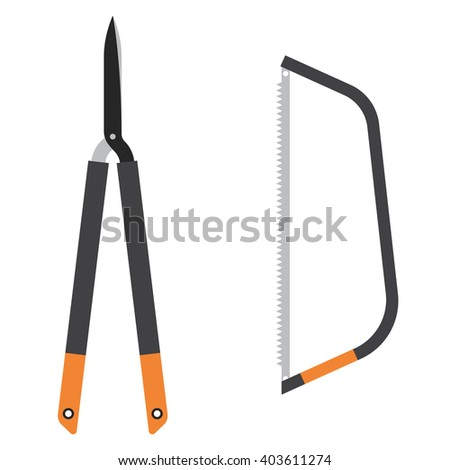 Lopper and saw. Set of garden tools icon in flat style - stock vector