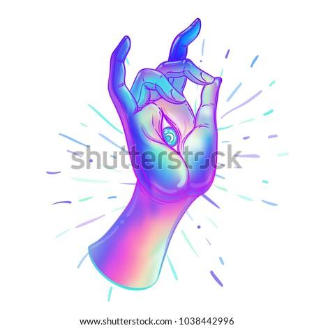 Lord Buddhas Hand Allseeingl Eye Psychedelic Stock Vector 2018
