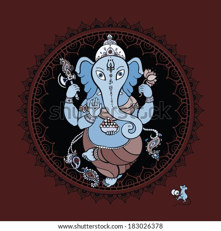 Lord Ganesha. Indian God. - stock vector