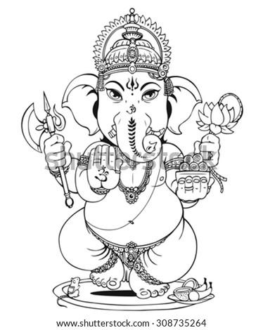 Lord Ganesha of Hindus God - stock vector