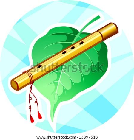 Krishna Flute Cartoon Lord Krishna 39 s Flute And Leaf