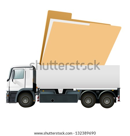 lorry or truck with an empty folder to place your concept. vector design - stock vector