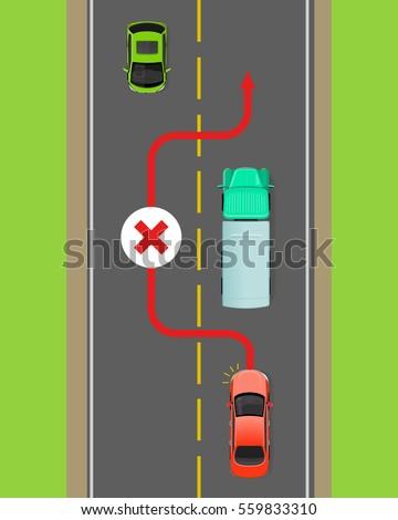 Lorry Overtaking Ban Flat Vector Illustration Stock Vector 559833310 ...