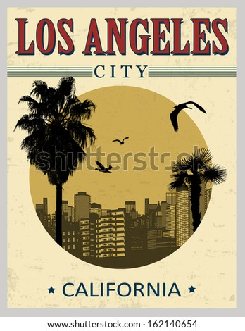 Los Angeles city from California in vintage style poster, vector illustration - stock vector