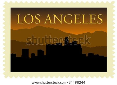 Los Angeles city high-rise buildings skyline on stamp. - stock vector