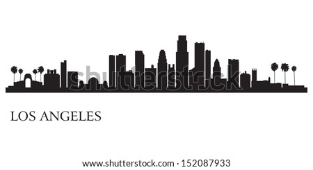 Los Angeles city skyline silhouette background. Vector illustration