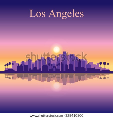 Los Angeles city skyline silhouette background, vector illustration - stock vector