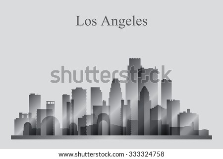 Los Angeles city skyline silhouette in grayscale, vector illustration - stock vector