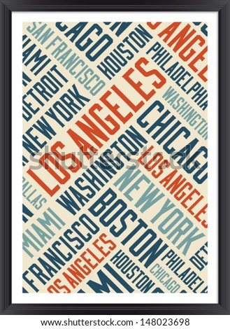 Los Angeles city words cloud poster   - stock vector