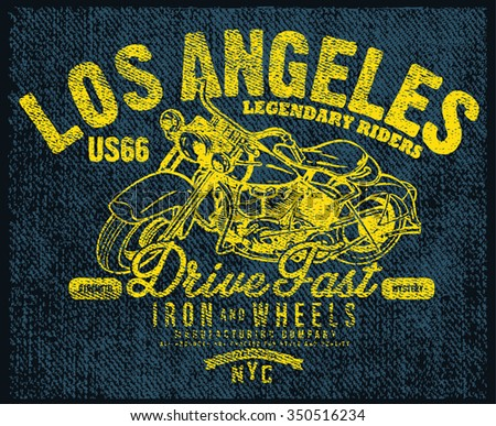 LOS ANGELES MOTORCYCLE T-SHIRT GRAPHIC