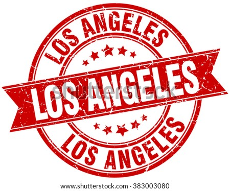 Los Angeles red round grunge vintage ribbon stamp