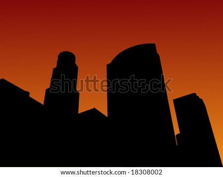 Los Angeles skyline at sunset illustration - stock vector