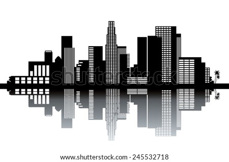 Los Angeles skyline - black and white vector illustration - stock vector