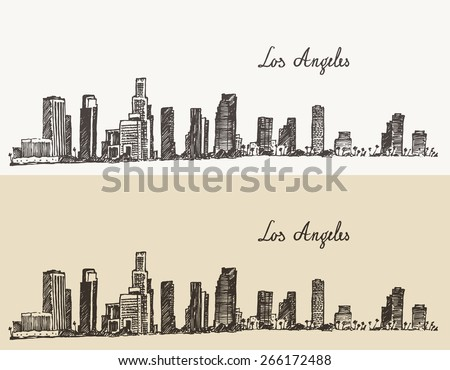 Los Angeles skyline (California), vintage engraved illustration, hand drawn, sketch - stock vector