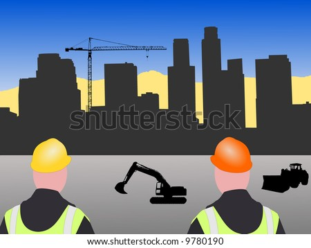 Los Angeles skyline construction with workers and crane illustration - stock vector
