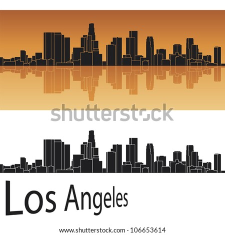 Los Angeles skyline in orange background in editable vector file - stock vector