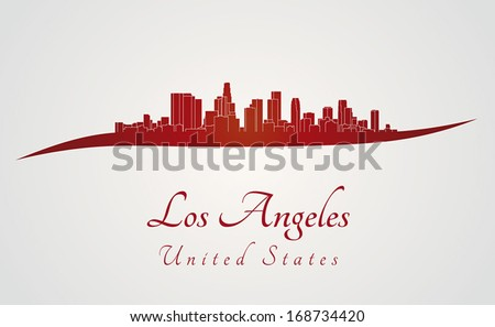 Los Angeles skyline in red and gray background in editable vector file - stock vector