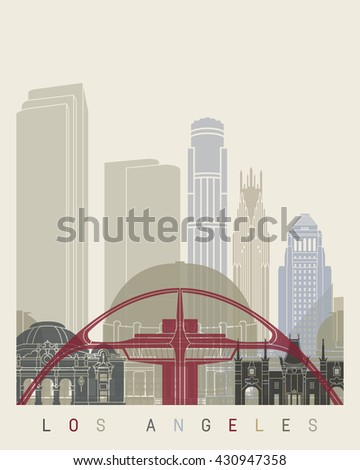 Los Angeles skyline poster in editable vector file - stock vector