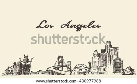 Los Angeles skyline, vintage vector engraved illustration, hand drawn, sketch - stock vector