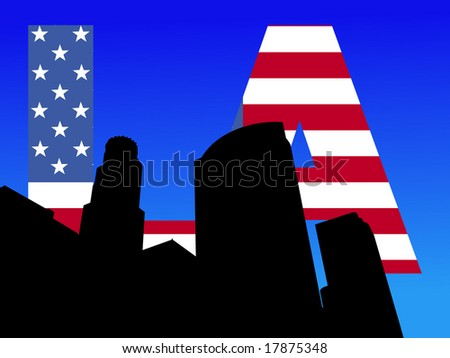 Los Angeles skyline with American flag text illustration - stock vector