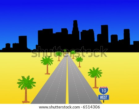 Los Angeles skyline with interstate 10 illustration - stock vector