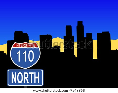 Los Angeles skyline with interstate 110 sign illustration - stock vector