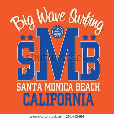 Los angeles surf sport typography, t-shirt graphics, vectors - stock vector