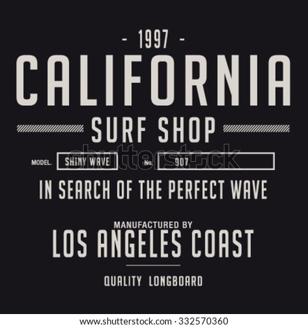 los angeles surf sport typography, t-shirt graphics, vectors