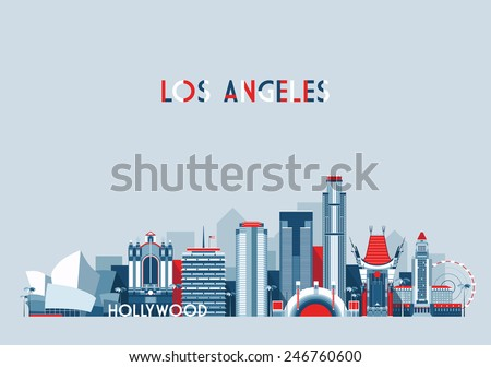 Los Angeles (United States) city skyline vector background. Flat trendy illustration