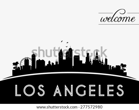 Los Angeles USA skyline silhouette, black and white design, vector illustration - stock vector