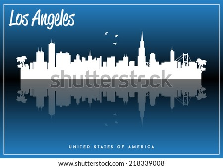 Los Angeles, USA skyline silhouette vector design on parliament blue background. - stock vector