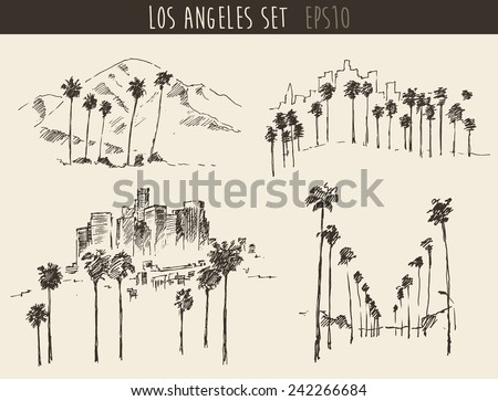 Los Angeles views set (California) skyline engraved style, hand drawn vector illustration - stock vector