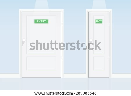 Lose weight concept. When fat people entry to big door but can exit at small door because lose weight very fast