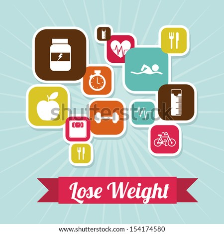lose weight over blue background  vector illustration - stock vector