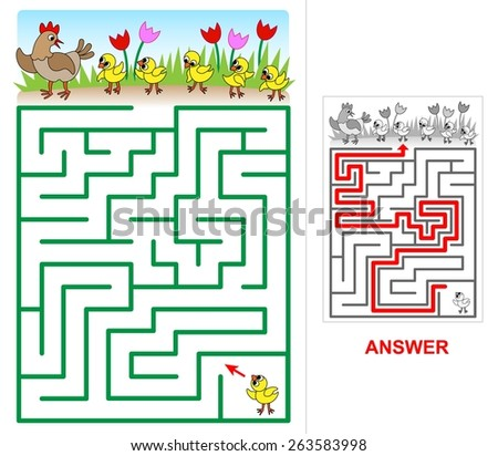 Lost chicken maze for kids. One small chick is lost. Help him to find his mom, brothers and sisters. - stock vector