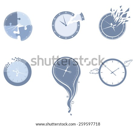 Lost time icon set. Set of various clocks isolated on white background.  - stock vector