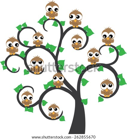 lot of brown owls sitting in a tree - stock vector