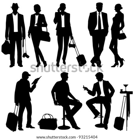 lot of people - vector silhouettes - stock vector