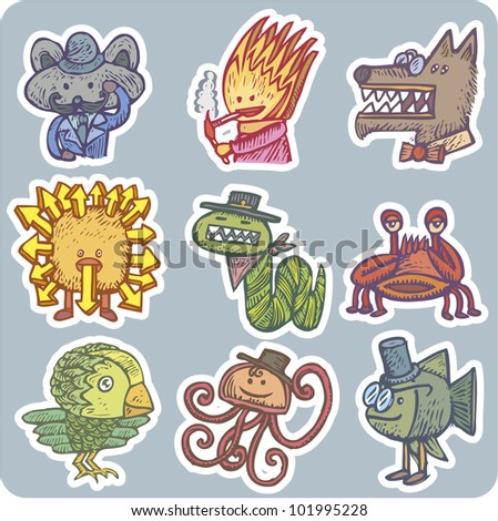 Lot of strange characters in bizarre appearance - stock vector