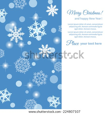 lots of different snowflakes on a blue background.Christmas card