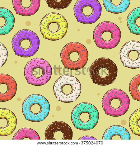 Lots of donuts in a colored glaze on a yellow background. Seamless texture.