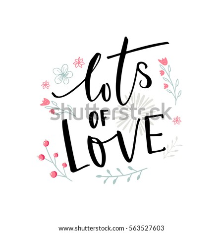 Lots of love black typography with pink and blue flowers valentines day card design