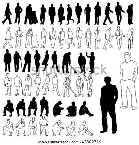 Lots of Men Silhouettes & Line Drawing 01