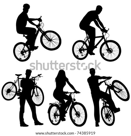 Lots of people, bicycles, set - stock vector