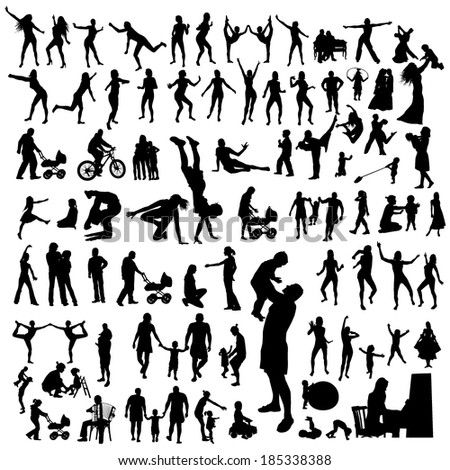 Lots of people silhouettes. Vector - stock vector
