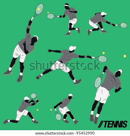 lots of tennis player do some action and hit the ball - stock vector