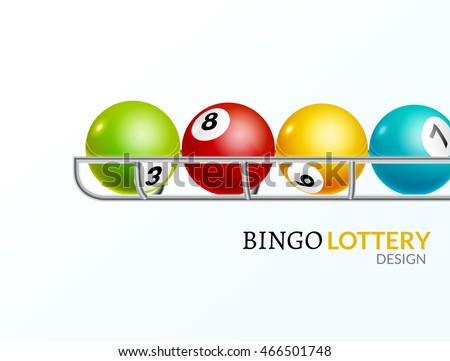 Lottery balls number. Lottery game gamble luck template poster design. Lotto background.