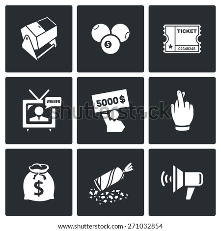 Lottery icons: lottery drum, ball number, a lottery ticket, circulation, drawing, check, victory, fortune, jackpot, holiday, announcement of the winner. Vector Illustration. - stock vector