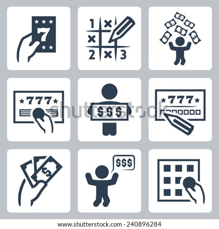Lottery related vector icon set - stock vector