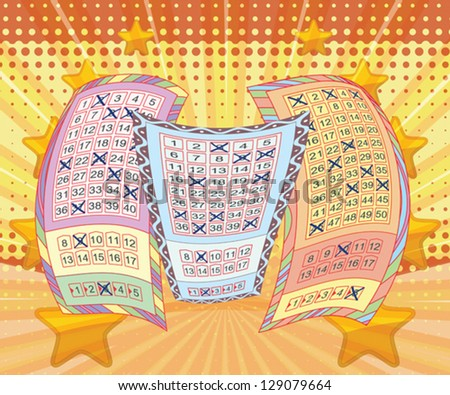 Lottery tickets and vivid background - stock vector